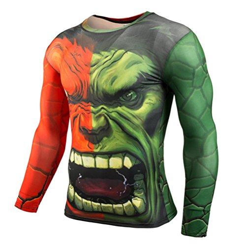 Mens Compression Shirt,Super Hero Hulk Big Giant Sport Workouts Gym Tee Top L