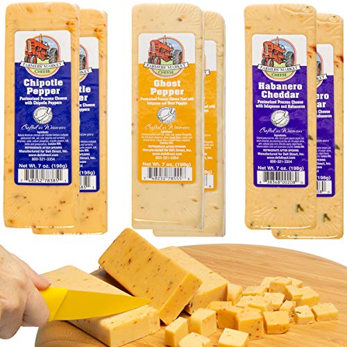 Farmer's Market (Set of 6) Gourmet Spicy Wisconsin Cheese Blocks For Gift Basket, Fondue Cheese Bricks ()