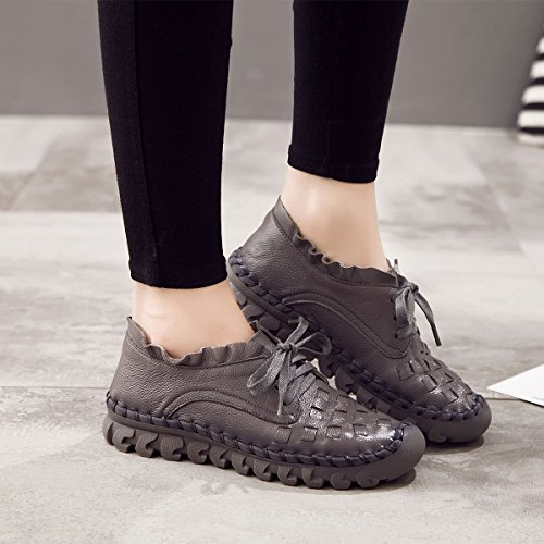 Women's Stitching And Indoor Women Work ladies Flat Handmade Shoes Shoes Up Outdoor Loafer Casual Socofy Single Lace Grey Loafers Leather da7dBq