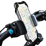 Widras Bike Mount Bicycle Phone Holder Universal Biking Cradle Handlebar Clamp for iOS Android Smartphone Boating GPS Stroller with 360 Degrees Rotatable Support 2 Rubber Straps - Black and Red