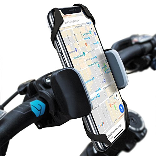 Deluxe Pedal Car (Widras Bike Mount Bicycle Phone Holder Universal Biking Cradle Handlebar Clamp for iOS Android Smartphone Boating GPS Stroller with 360 Degrees Rotatable Support 2 Rubber Straps - Black and Red)