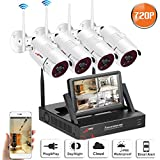 Security Camera System Wireless, Video Surveillance System with 4x 720P Wireless IP Camera 4Channel 7Inch Monitor NVR, Indoor Ourdoor, Email Alert, Night Vision, Plug and Play, No Hard Drive ANRAN
