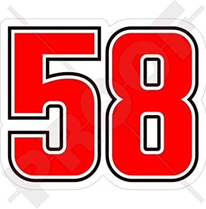 Marco simoncelli 58 Moto Racing 7,6 cm (75 mm) en vinyle bike-helmet Sticker, autocollant StickersWorld