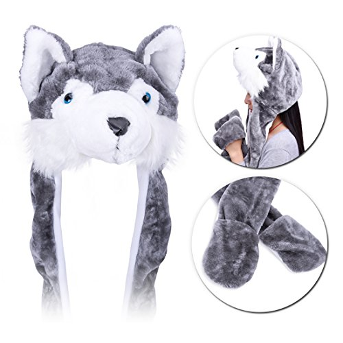Plush Hat Novelty Cap Animal costume Beanie With Long Paws-Wolf (Adult Novelty Hats)