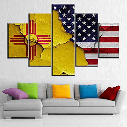 American Flag Art USA New Mexico State Flags Wall Art Contemporary Decor Patriotic Pictures 5 Piece Canvas Artwork House Decorations Living Room Ready to Hang Posters and Prints(60''Wx40')