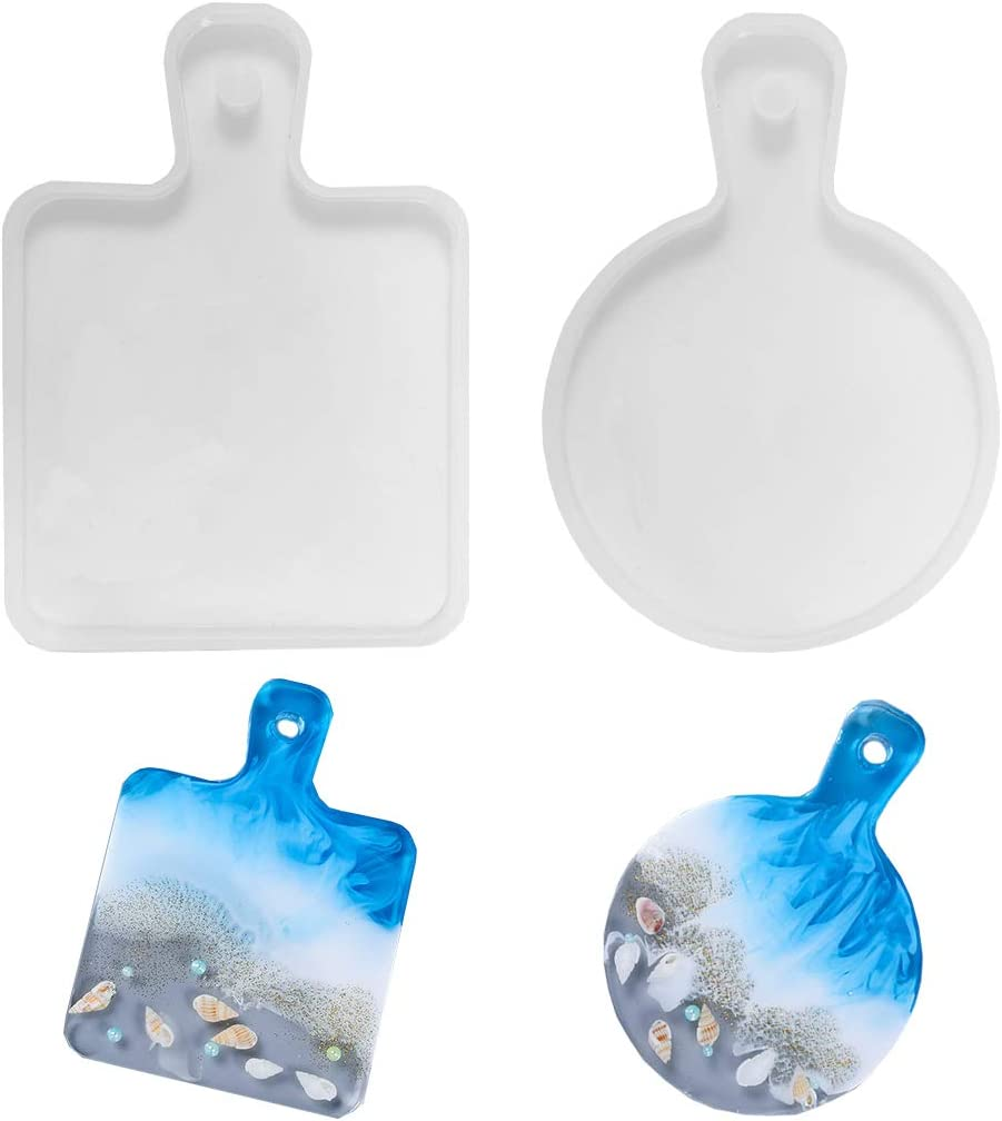 Daimay 2 Pieces Resin Tray Molds Serving Board Silicone Mold Serving Tray Epoxy Casting Molds with Handle Resin Cutting Board for Coaster/Food Plate/Home Decoration/Resin Ocean Wave Painting Art