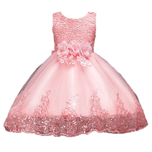 Price comparison product image ADHS Kids Baby Girl Formal Occasion Pageant Prom Floral Dresses(Dusty Pink,1-2Y)