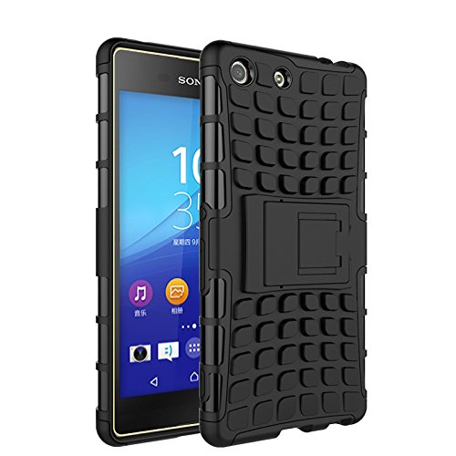 COOLKE Xperia M5 Case, Heavy Duty Double Rugged Protection Hybrid Shockproof Cover Case with Built-in Kickstand For Sony Xperia M5/E5603/E5606/E5653 - Black