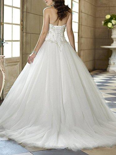 Mieder Klassisches Hochzeitskleid Erosebridal Tüll Schatz Elfenbein Korsett Perlen PwwRtqI
