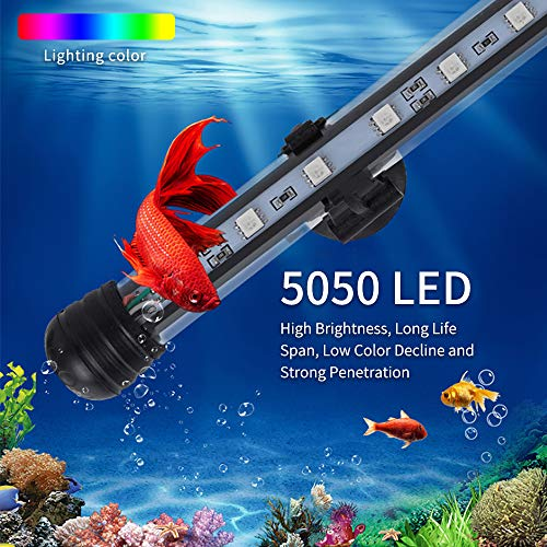 Intsun LED Aquarium Lights RGB Color Changing Fish Tank Light Underwater Submersible Light with 20 Colors Remote