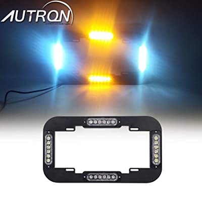 "AutronLEDLight 13.5"" License Plate Strobe Light 24 W LED Emergency Traffic Adviser Warning Flash Strobe Lights (Amber/White): Industrial & Scientific"