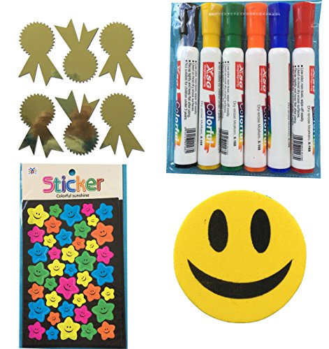 hool Must Have Kit for Teachers: Whiteboard Markers, Whiteboard Smiley Eraser and Reward Stickers for Kids Motivation , Merit / Praise School Teacher Labels (Teacher Reward Kit)