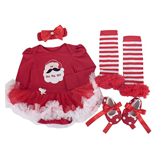 BabyPreg Baby Girls My First Christmas Santa Costume Party Dress 4PCS (M for 6-9 months, Christmas Santa Long (Funny Santa Costumes)