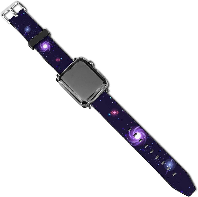 Galaxy Stars Pattern Watch Strap For Apple Watch Soft Band Fadeless Pattern Printed Wristband Replacement