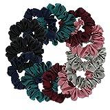 Satin Scrunchies, BETITETO Set of 12 Soft Ponytail Holder Bobbles Hair Scrunchy Vintage Hair Bands Ties for Women Girls