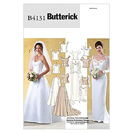 7fa2c71251e7 Butterick 4131 - Cartamodello per abito da sposa con corpetti e gonne