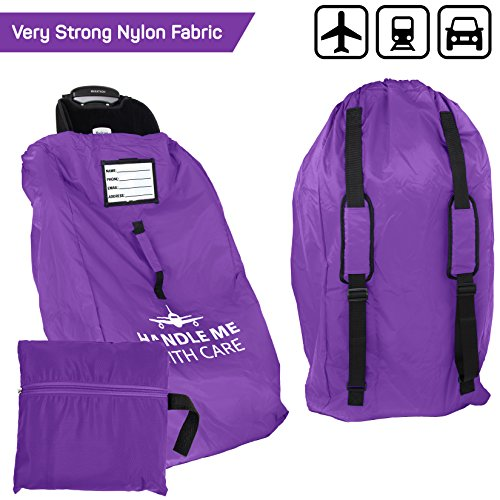 Car Seat Travel Bag Backpack for Gate Check Bag - Waterproof - 600D Nylon Fabric W/Adjustable Strap 18x18x34 inch (Purple)