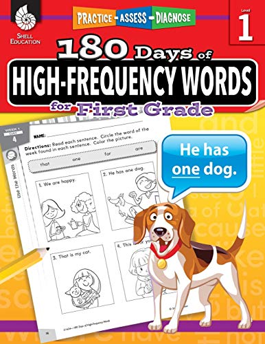 180 Days of High-Frequency Words for First Grade – Learn to Read First Grade Workbook – Improves Sight Words Recognition…