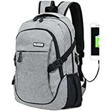 Trustbag X-03 Business Water Resistant Polyester Laptop Backpack with USB Charging Port and Lock Fits Under Laptop and Notebook, Grey