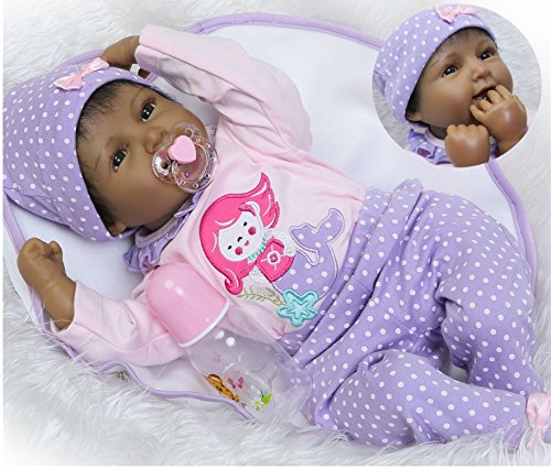 Search : Reborn Baby Dolls African American Girl Black Baby Realistic Silicone Vinyl 22 inches Handmade Weighted Cute