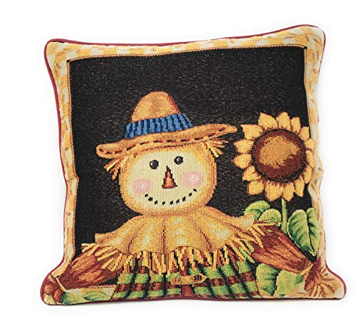 (Tache Sunflower Field Scarecrow Thanksgiving Autumn Harvest Country Farmhouse Vintage Decorative Woven Tapestry Cushion Throw Pillow Cover, 16 x 16, 1)