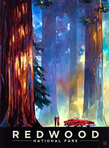 American Vinyl Redwood Art Poster Bumper Sticker (rv National Park Hike)