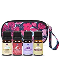 Lagunamoon Essential Oils Set with Travel Bag, Premium Therapeutic Aromatherapy 4 Pcs Oil Kit with Carry Bag Floral Blend Lavender Chamomile Jasmine Rose 10ml