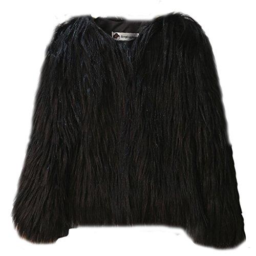 piel Negro Chaqueta abrigo FOLOBE sint¨¦tica c¨¢lido invierno ni os de xzqP0pPw6