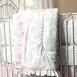 Carousel Designs French Gray and Pink Damask Crib Comforter