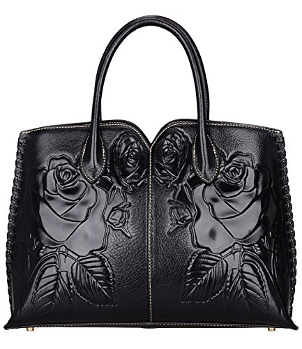 Black Designer Purses (Pijushi Designer Floral Purse Women's Genuine Leather Tote Handbags 65102 (black))