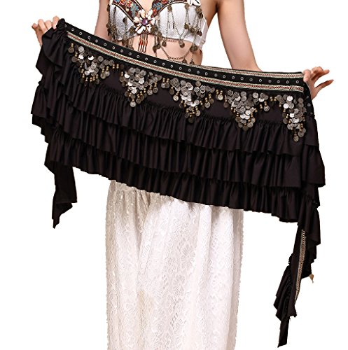 ZLTdream Women's Belly Dance Retro Tribal Hip Scarf with Copper Coins - Hip Retro