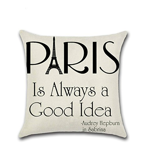 oFloral Eiffel Tower Pillow Cover Paris is Always A Good Idear Quote Pillowcase Cotton Linen Square Cushion Cover Home Sofa Couch Bedroom Decorative 18