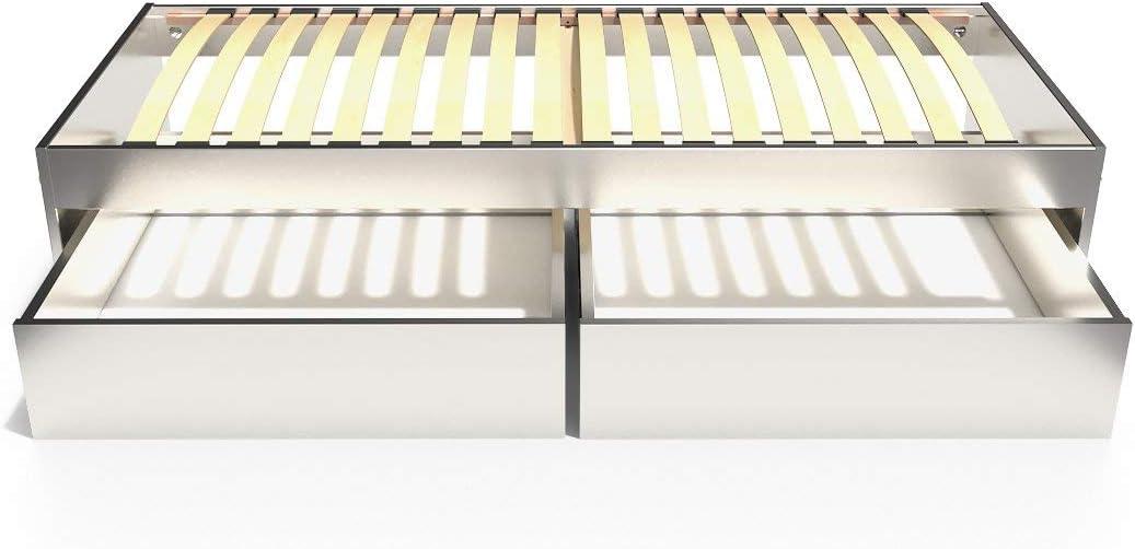 ABC MEUBLES - Cama Individual Malo 90x190 cm + cajones - TOPMALO90T - Gris Aluminio, 90x190: Amazon.es: Hogar