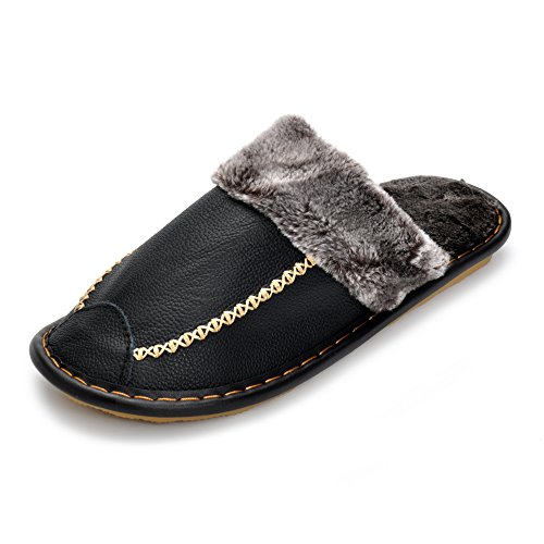 Soft Warm Winter Men Slippers With Plush Fur Genuine Leather Shoes Slip-Resistant Indoor Slippers Black
