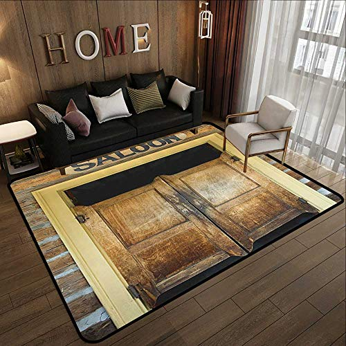 Kids Rugs for playroom,Saloon Decor Collection,Authentic Saloon Doors of Old Western Building in Montana Ghost Town Image Print,Sienna Cream Br 71