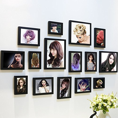 Home@Wall photo frame Photo Frames Wall ,Creative Wall Photo Frame Combination 15 Pcs/sets Collage,Family Picture Frame Wall DIY Photo Frame Sets ( Color : F , Size : 15frames/13575CM ) by ZGP
