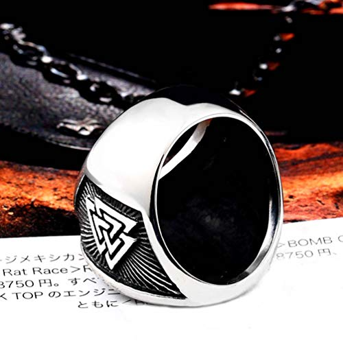 HIJONES Men's Stainless Steel Valknut Norse Viking Odin Symbol Ring Warrior Signet Biker Band