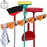 Mop and Broom Holder Garage Storage Systems and Garden Tool Storage Rack,Wall Mounted Aluminium Alloy Towel Hook rack Adjustable Broom Organizer (4 Position with 5 Hooks, ORANGE)