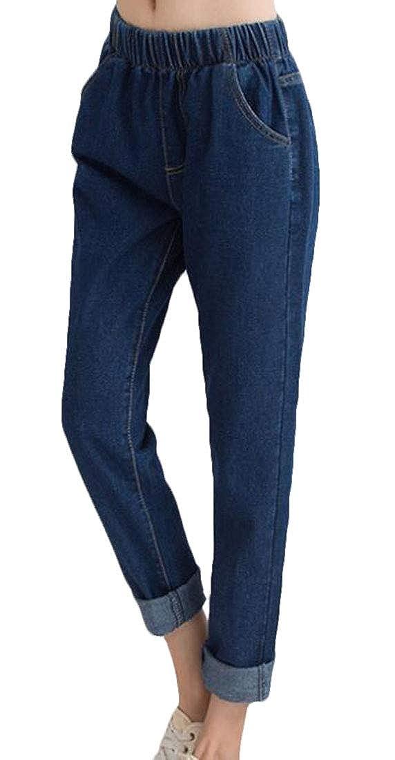 KLJR Women Denim Casual Straight Elastic Waist Pants