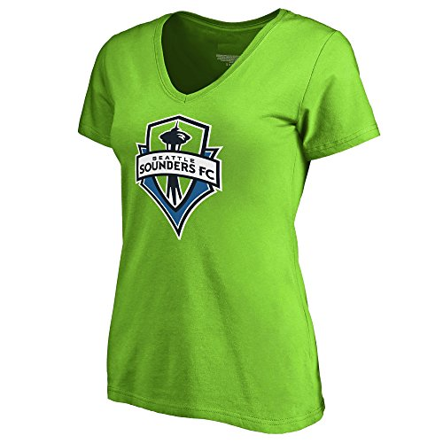 - Majestic Seattle Sounders FC MLS Women's Team Logo V-Neck T-Shirt Green (X-Large)