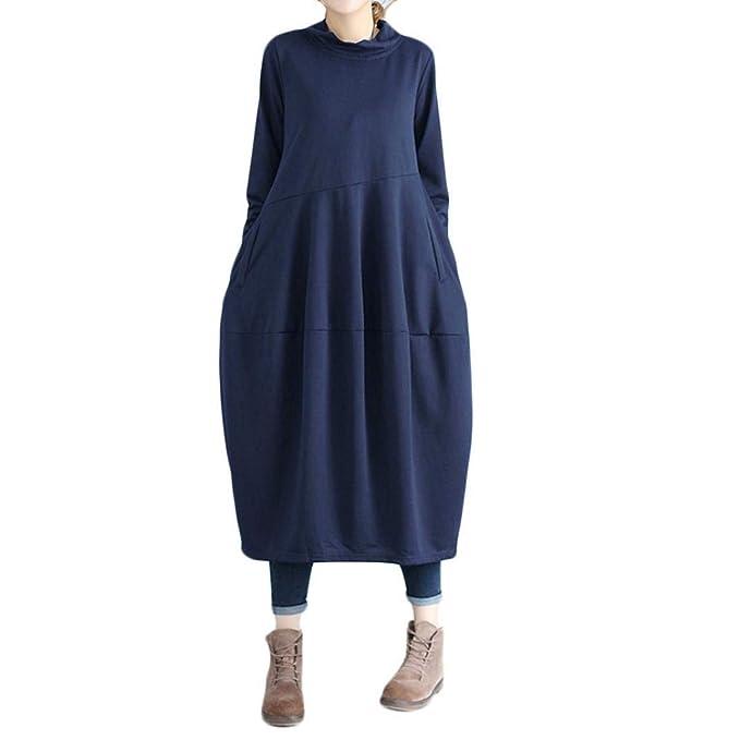 POLP Vestidos Manga Larga Mujer ◉ω◉ Vestido Lino Mujer,Vestido de Fiesta Largos