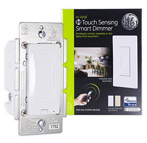 GE Enbrighten Z-Wave Plus Smart Touch Panel Dimmer Switch, Smooth Seamless Dimming, in-Wall, Includes White and Lt. Almond Paddle, Zwave Hub Required, Works with SmartThings, Wink, Alexa, 14289