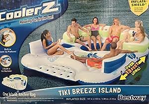 Bestway CoolerZ Inflatable 7 Person Tiki Breeze Floating Island HUGE 13.12 X 10.17 Feet