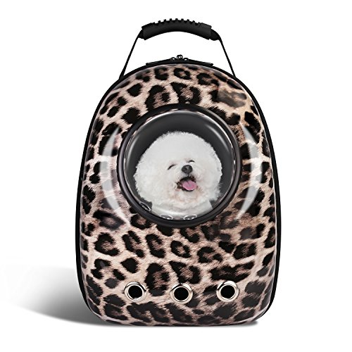 (Blitzwolf Anzone Pet Portable Space Capsule Carrier Backpack,Pet Bubble Window Traveller Knapsack Waterproof Lightweight Handbag for Cats Small Dogs & Petite Animals-Leopard Print)