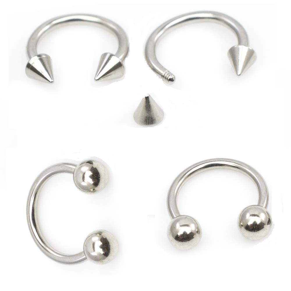 BodyJewelryOnline 4-Piece 16ga-5/16(8mm) Circular Horseshoe Barbell Kit - Ear, Lip, Nose, Cartilage - 316L Surgical Steel