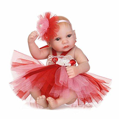 TERABITHIA 10 inch Mini Lifelike Full Body Reborn Baby Doll That Look Real, Little Princess Dressed in Colorful Dress (Reborn Dress Baby)