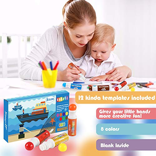 Koogel 20 Pcs Dot Markers Pack Set, 8 Colors Dot Markers 12 Childrens Drawing Templates Dot Paint Markers Washable Markers for Kids for Toddlers Preschoolers Fun Art Supplies