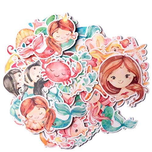 Navy Peony Happy Mermaid Stickers and Fish Decals (60 Pieces)   Sea Animal Stickers for Party Favors and Scrapbooks   Cute Ocean Stickers for Kids   Waterproof Stickers for Water Bottles and Laptops]()