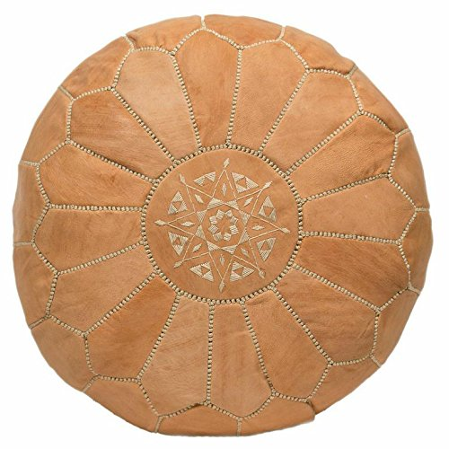 Casablanca Market Moroccan Embroidered Cotton Stuffed Leather Pouf/Ottoman, Natural Sand from Casablanca Market