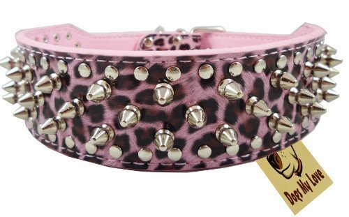"17""-20"" Pink Leopard Faux Leather Spiked Studded Dog Collar 2"" Wide, 31 Spikes 52 Studs, Pit Bull, Boxer"
